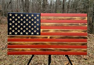 American Flag Dark Burn Wooden Rustic Handcrafted Large 19.5x37""