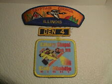 LOT /3 BSA BOY SCOUTS OF AMERICA CALVARY CHAPEL EGYPTIAN ILLINOIS DEN 4 PATCHES
