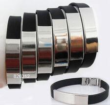 12pcs Black Silicone Stainless Steel Bracelets Wholesale Men Women Jewelry Lot