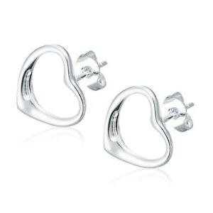 *UK* Silver Plated Hollow Open Love Heart Stud Earrings Ladies Gift Girlfriend