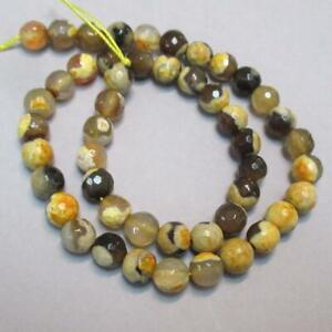 "15"" strand of amber and tan, Spot Agate round Faceted Beads, 8mm"