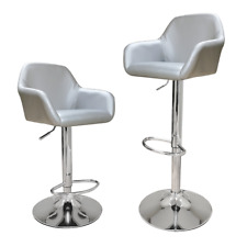 Modern Silver Grey Square Seat Set of 2 Bar Stools with Footrest and Metal Base