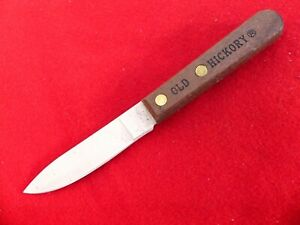 """Ontario 7027 Outdoor Bird & Trout 3.4"""" Wood Handle Fixed Blade Knife Old Hickory"""
