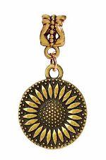 Sunflower Flower Garden Gold 2 Sided Dangle Bead for European Charm Bracelets