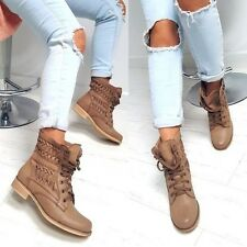 WOMENS LOW HEEL MILITARY WORKER FLAT SUMMER BIKER COMBAT ANKLE BOOTS 398 LACE UP
