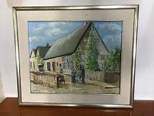 Altes Ölgemälde Haus Familie kind strasse  Landschaft Schafe signiert 63x53