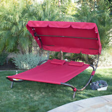 Outdoor Patio Double Wide Patio Pool Hammock Bed Lounger - Burgundy