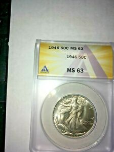 1946  ANACS graded MS 63 . Walking Liberty Half Dollar