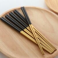 5 Pairs Chopsticks Stainless Steel Chinese Gold Set Black Metal Chop Sticks N1Y