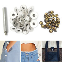 20mm Silver Brass Jeans Buttons on Hammer with Hand Tool for Denim Handbags Coat