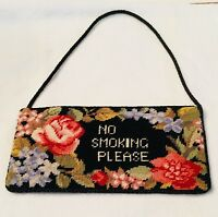 "NEEDLEPOINT PETIT POINT ""NO SMOKING PLEASE"" SIGN Floral/Imperial Elegance"
