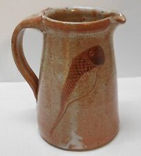 Pottery Pitcher with Fish Designs Signed Marked B Studio Art