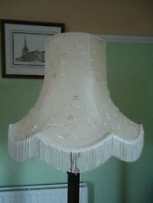 Vintage Ivory Silk Fabric Standard Lampshade Trimmed Embroidery Fringe and Braid