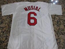 New! Stan Musial St. Louis Cardinals #6 Cream VintageBaseball Jersey Men's L 44
