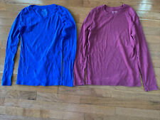 Lot Of 2 Sz XS 0-2 Long Sleeve T Shirts Blue V-Neck Faded Glory Wine Sonoma Crew