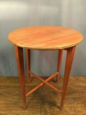 Circular Folding Side Table Vintage Drop Leaf Plant Stand Mid Century Compact