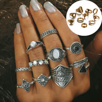 10Pcs/Set Women Ladies Boho Vintage Silver/Gold Punk Knuckle Finger Midi Rings