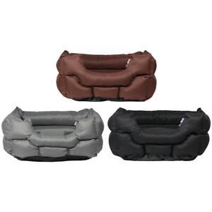 Woodland High Sided Canvas Dog Bed Soft Washable Cushion Warm Pet Basket Cushion