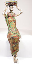 """Gilde Deko Figur, Skulptur, Afrika - """"Trägerin mit Schale, sitzend"""" - Höhe 27 cm"""