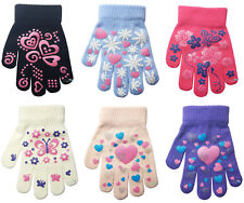 3 Pairs Children's Kids Magic Grip Gloves Heart & Butterfly Boys Girls One Size