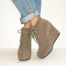 TOPSHOP Taupe Suede Lace Up Ankle Boot Wedges Size 6 / 39
