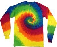 Moondance Long Sleeve Tie Dye T-Shirt Adult S M L XL 2X 3X Cotton Multi-Color