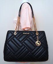 Michael Kors Vivianne Large Quilted Leather Tote Shoulder Bag in Black