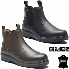 MENS LADIES DEALER CHELSEA STEEL TOE CAP SAFETY LEATHER BOOTS WORK SHOES SIZE
