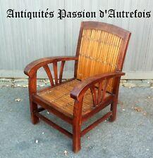 M201812 - Petit fauteuil de style colonial en acajou et bambou - TB état