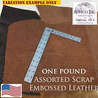 Avetco Inc Embossed Cow Leather Scrap Large 1 Pound Remnants 3-4 oz Color Mix