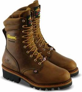 "Thorogood Men Logger 9"" Waterproof Safety Steel Toe Boot Crazyhors 804-3555"
