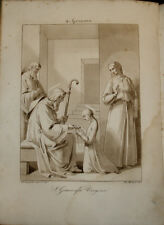 Stampa antica Santa Genoveffa Genevieve 1830 Bigioli gravure ancienne engraving
