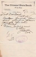 U.S. The Citizens State Bank of Le Roy Kansas 1901 Paid Cancel Invoice Ref 42362