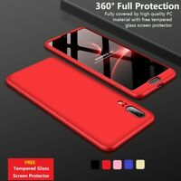 360° Full Body Hard Phone Case Cover Tempered Glass For Huawei P10 P20 Lite/Pro