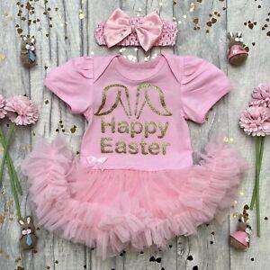 BABY GIRL EASTER TUTU ROMPER, Gold Glitter Happy Easter Bunny Ears Design Gift