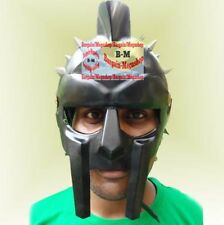 Black Roman GLADIATOR MAXIMUS HELMET w/ Leather Liner Chin Strap, Armour Costume