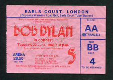 Original 1981 Bob Dylan Concert Ticket Stub Earls Court London Shot of Love Tour
