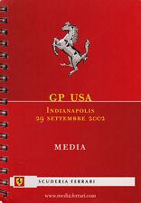 Scuderia Ferrari F1 Media Book  USA Grand Prix 2002. Italian/English Text