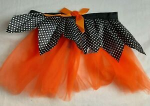 Halloween Dog Tutu Costume Tulle Skirt Orange, Black & White Polka Dot Medium