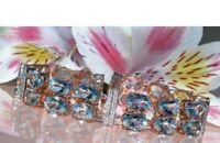 20Ct Oval Cut Aquamarine Tennis Bracelet 14K Rose Gold Finish All Size Available