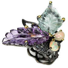 REAL FLOWER CARVING AQUAMARINE AMETHYST OPAL & CZ STERLING 925 SILVER RING 8.25