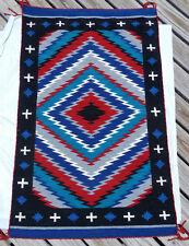 Colorful Churro Navajo Dazzler Rug w Indigo, Hand-dyed yarn 36x57
