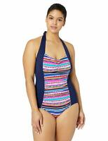 MSRP $108 Anne Cole Plus-Size One Piece Sexy Swimsuit, Retro Braid Stripe, 22W