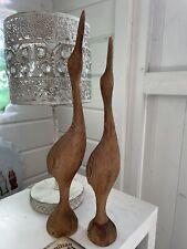 More details for vintage carved wooden sculptures pair of canadian storks /birds canada
