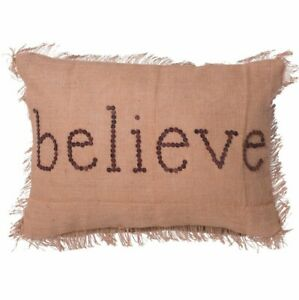 Vickerman Decorative Believe Pillow Featuring Rustic Harvest Burlap from Macy's