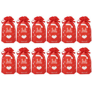 1 Set 10 Pcs Christmas Drawstring Bags Deer Non-woven Fabric Candy Bags