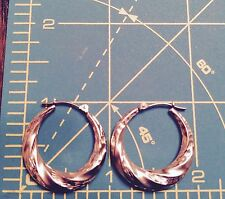14K Yellow Solid Gold Diamond Cut Etched Design Satin Hoops Pierced EARRINGS