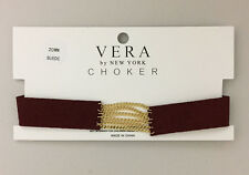 Maroon Red Faux Suede Band Choker Necklace with Gold tone Chains