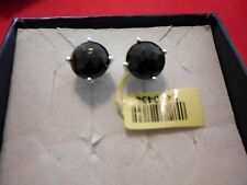 Black Onyx Round Stud Earrings in 925 Sterling Silver-7.35 Carats