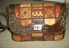 Fabulous VINTAGE/RETRO 1980's Large Tan Leather & Mock Croc Leather Shoulder Bag